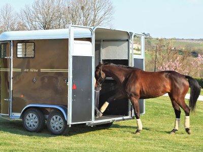 2 portes arrière qui canalisent les chevaux avec Plancher Progressif™ pour un embarquement facile.